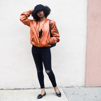 Satin Bomber Jacket by Azalea