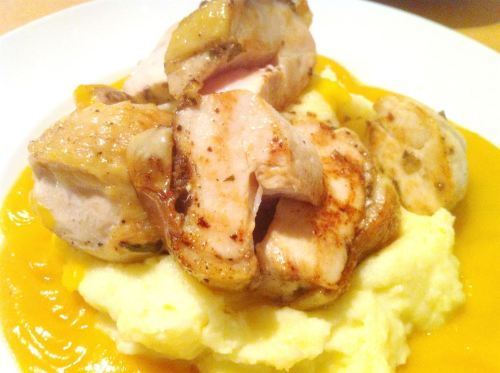 Sous Vide Curry Leaves Chicken Breast with Spicy Squash Emulsion, Lay The Table