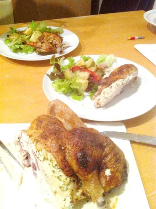 Spatchcock Chicken with Herby Goats Cheese Stuffing, Lay The Table