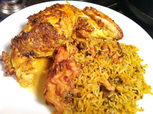 Indian-Spiced Roast Chicken with Onion Bhajis and Vegetable Biryani, Lay The Table