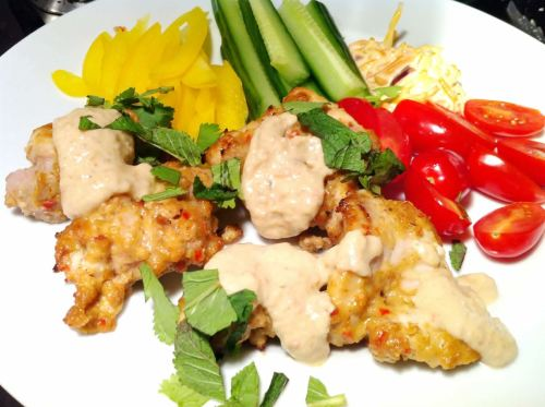 Grilled Chicken Thighs with Dannys Satay Sauce, Lay The Table
