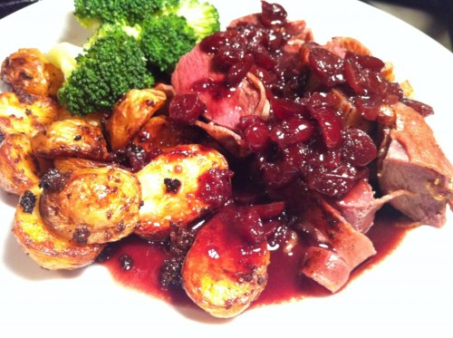 Springbok Fillet wrapped in Parma Ham with Port & Cranberry Sauce, Lay The Table