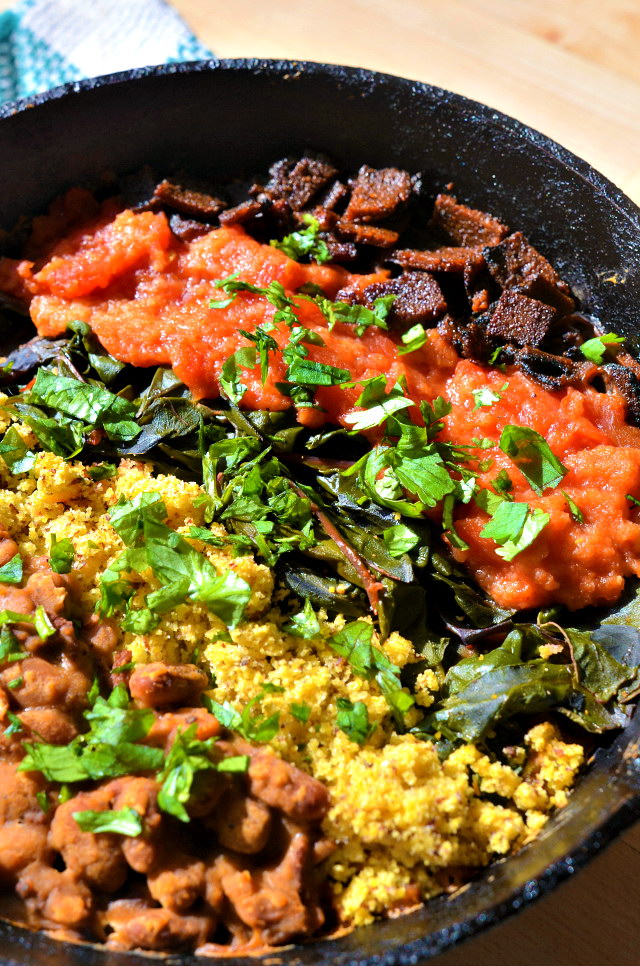 Smokey Vegan Pinto Bean Bowls w/ Stewed Tomatoes and Cornbread, Lay The Table