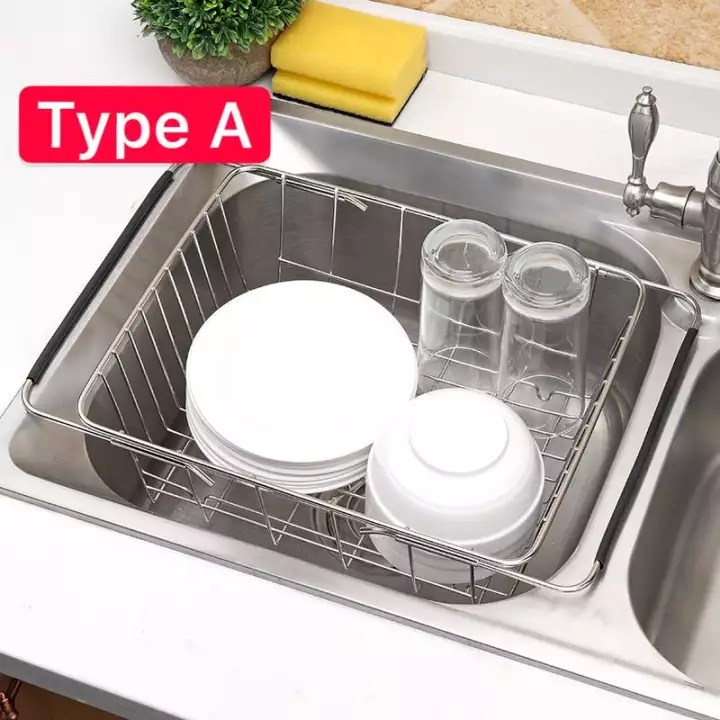 sg seller truslink stainless steel in sink dish drainer sink dish drying rack flat retractable drain stainless steel sink drain basket kitchen sink