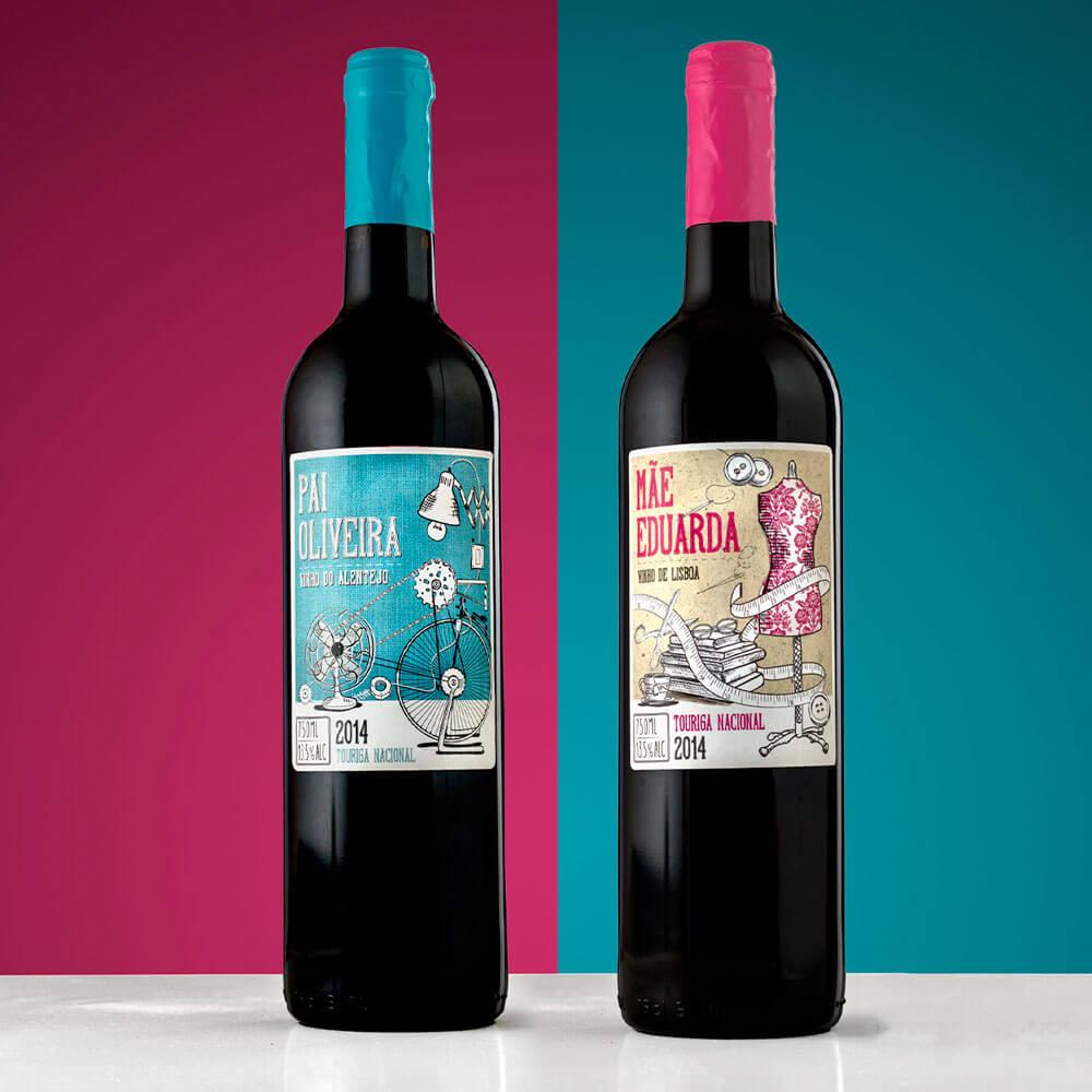 Etiquetas  de pareja de vinos Portugueses