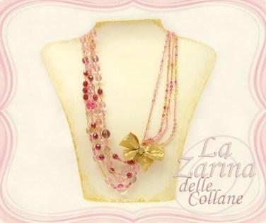 pink & gold elegant necklace, collana di cristalli rosa, collana con fiocco