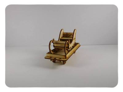 Wood Model Flat Car with Sleigh Kit By-LazerModels