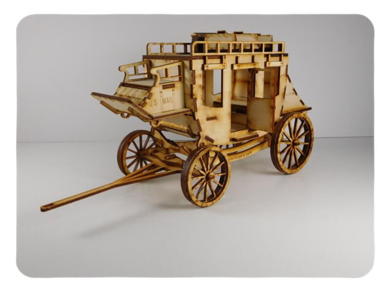 Wood Model Stagecoach Kit By-LazerModels