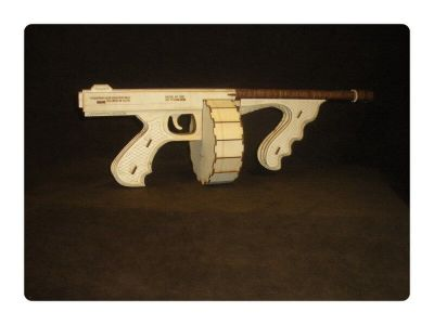 Wood Model Tommy Gun Kit By-LazerModels
