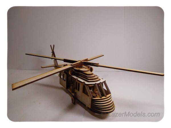 Wood Model HU-60 Blackhawk Helicopter Kit By-LazerModels