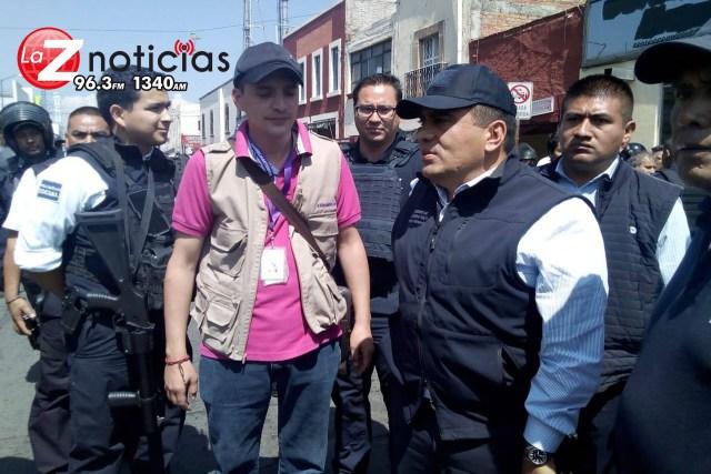 Policía Michoacán se une al operativo para evitar el comercio informal cerca del Mercado Independencia