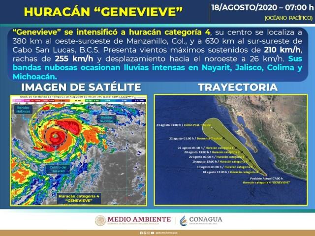 Alcanza huracán Genevieve categoría 4 frente a Colima
