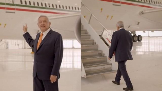 AMLO se sube al avión presidencial y pide comprar «cachitos» para la rifa