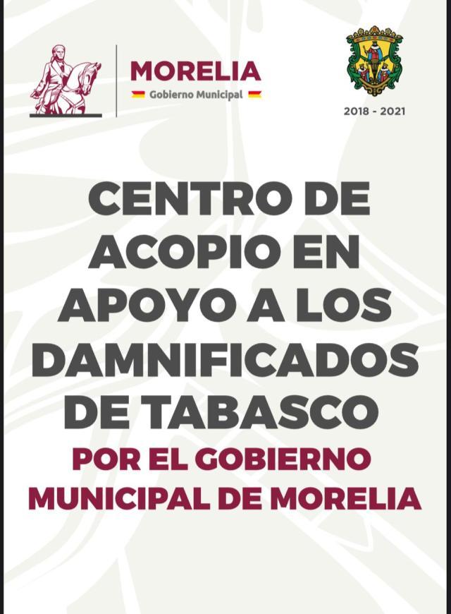 Convoca Raúl Morón a la solidaridad de los morelianos para ayudar a damnificados de Tabasco