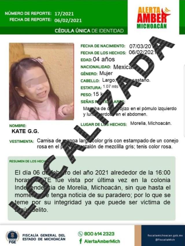 En Guerrero, localiza Fiscalía a menor de edad que fue sustraída Morelia