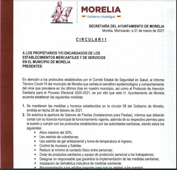 Dispone Gobierno de Morelia de nuevas medidas ante contingencia sanitaria