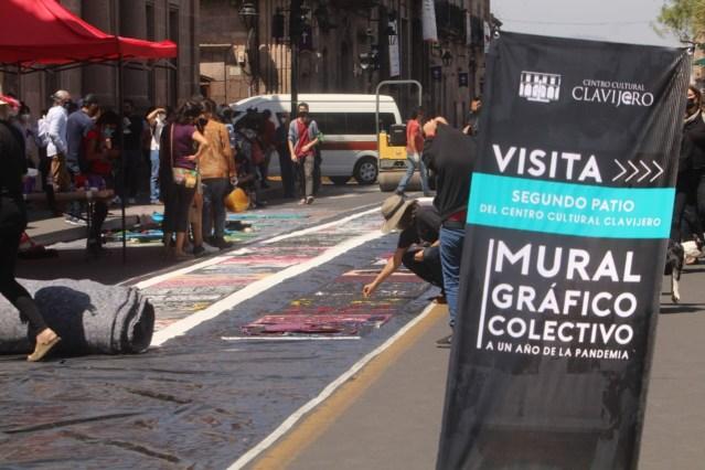 Con mural colectivo, artistas reflexionan sobre el COVID-19