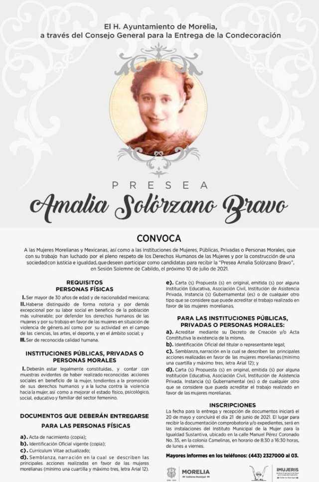 """Hoy, cierra la convocatoria para la Presea """"Amalia Solórzano Bravo"""""""