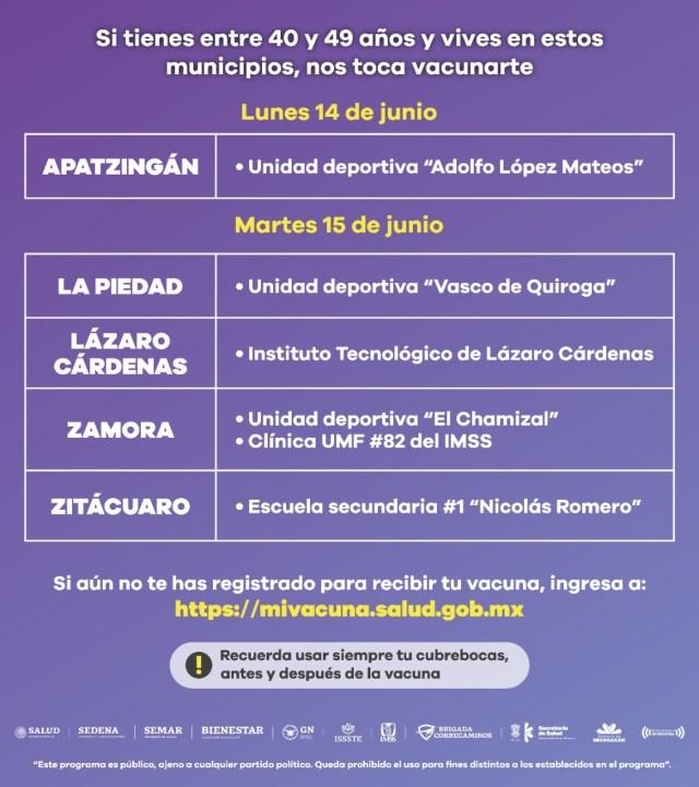Inicia este lunes vacunación anti COVID-19 en grupo de 40 a 49 años en Apatzingán