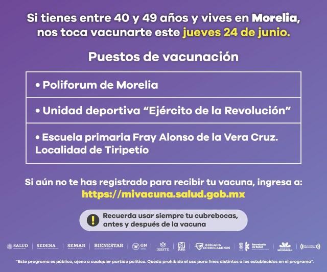 Cambia sede de vacunación contra COVID-19 en Morelia