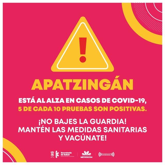 En Apatzingán se registran 5 casos positivos por cada 10 pruebas de COVID-19
