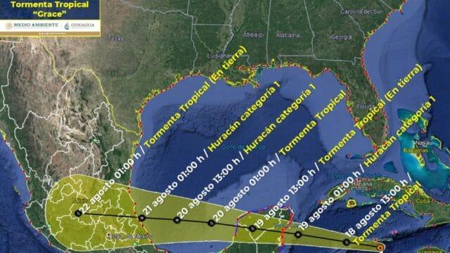 """Clima hoy 18 de agosto: """"Grace"""", con pronóstico de huracán, avanza a la Península de Yucatán"""