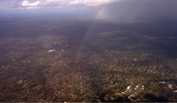 A rainbow from above