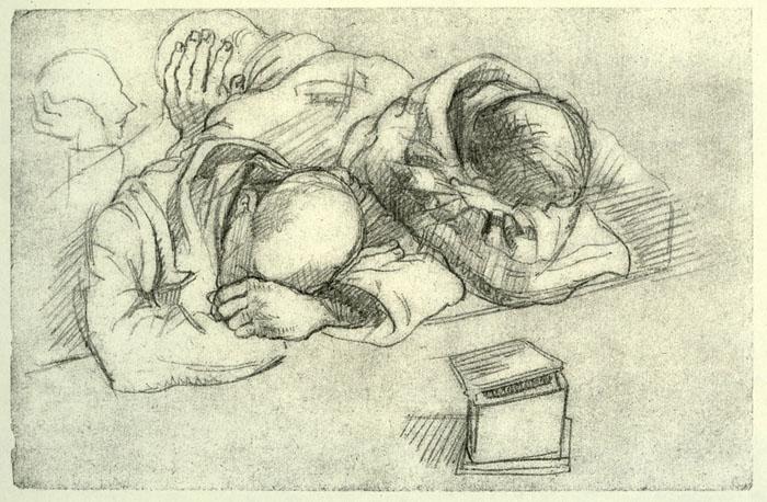 boris-Taslitzky-dessins-guerre-1944-Buchenwald camarades fatigués