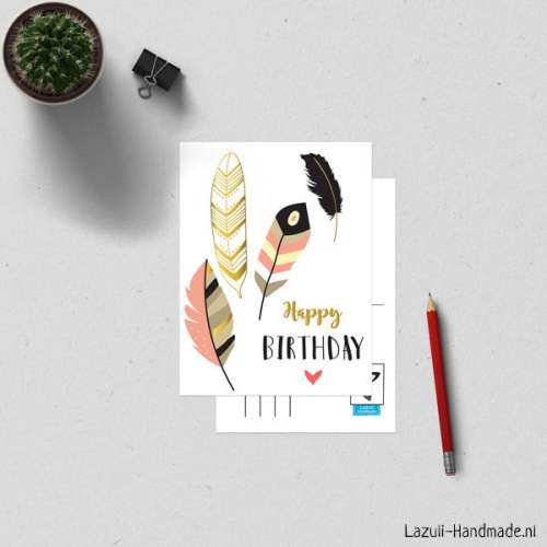 A6Kaart-Feathers-HBday