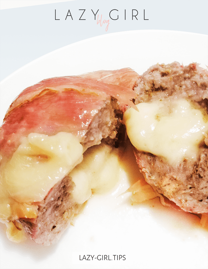 keto Bacon Wrapped and Cheese Stuffed Burger recipe.