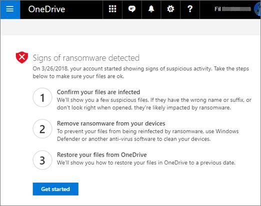 onedrive bảo vệ ransomware