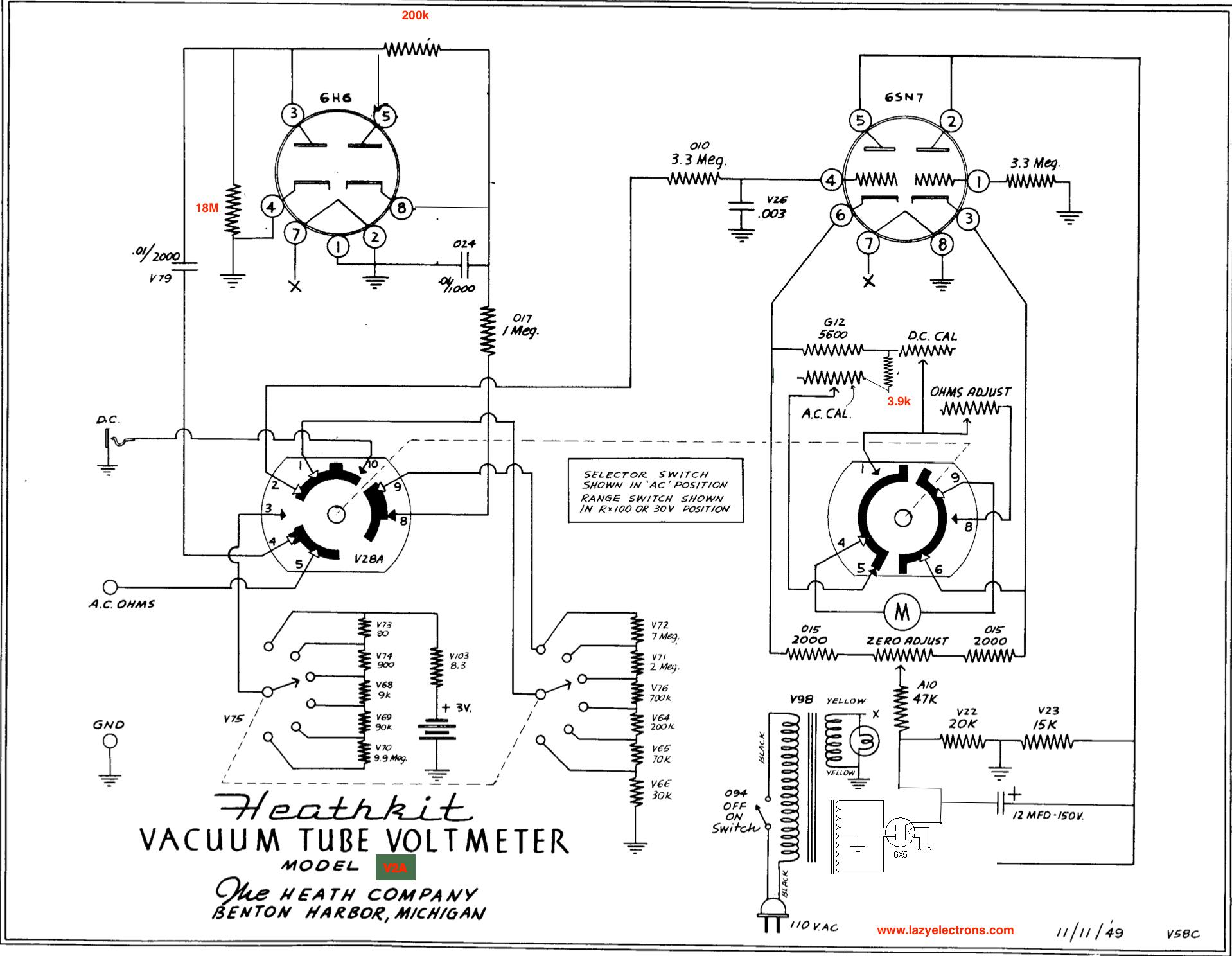 Heathkit V2a Vintage Vtvm Vacuum Tube Volt Meter