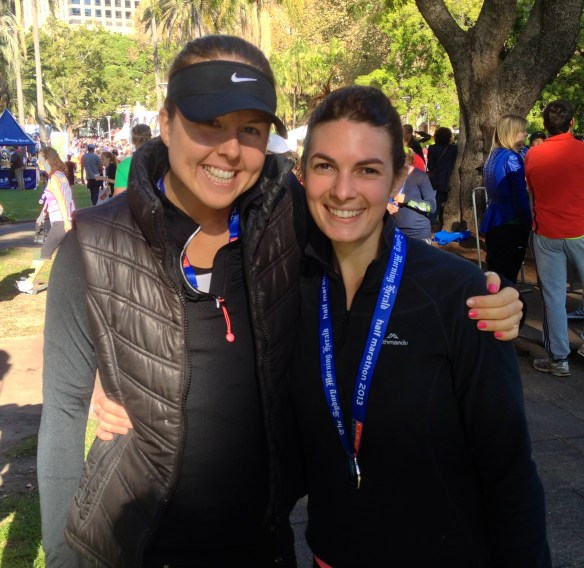 Kate and Liv (another amazing girl I train) after 21.1km