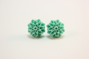 mint dahlia nickel free studs on etsy