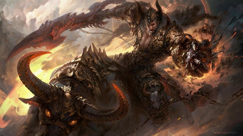 Epic Fantasy Illustrations Of The Zodiac Signs By Guangjian Huang Taurus   The Bull