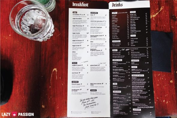 Lilith Coffee Rotterdam menu 2018