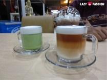 Green macha latte and Thai milktea latte. Beautiful colors