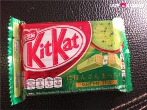 green tea kitkat. Really tastes like green tea, no chocolate taste