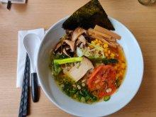 Veggie Shoyu Pumpkin ramen Tensai Ramen