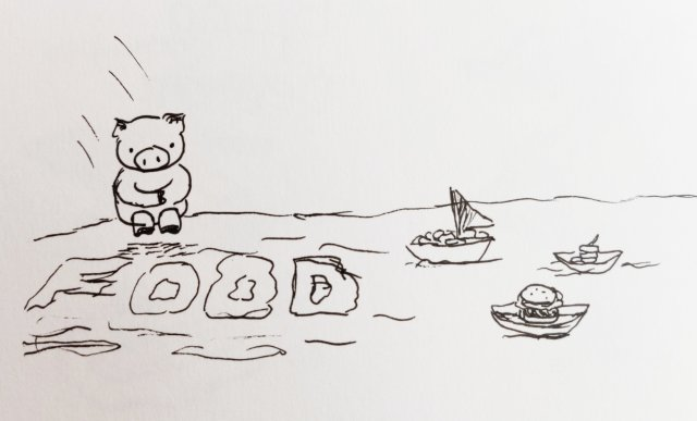 Pig jumping in food sea
