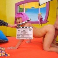 "Cute naked Stephanie from ""Lazy town"" gets fucked doggy style while she is trying to make a porn movie..."