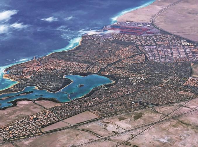 رسم فني لمدينة الملك عبدالله الاقتصادية التي تطورها شركة إعمار المدينة الاقتصادية