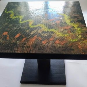 Table basse noir jaune orange or