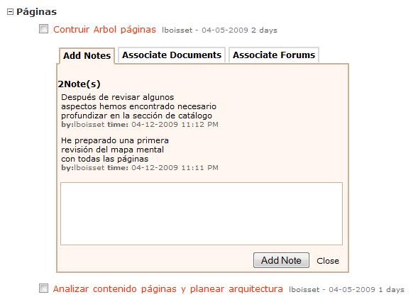 Las notas, documentos y foros de una tarea