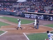 Ironbird smashes the ball into the outfield resulting in a double.