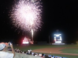 """Harford County local Dan (25) says, he came to the game tonight for """"the free tickets, and the great firework show."""""""