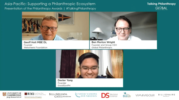 Dexter Yang (bottom) with the founder of Wetwheels Foundation Geoff Holt (Upper left) and Ben Morton Wright (Upper right), founder and CEO of Global Philanthropic during a conference call last May 14, 2021