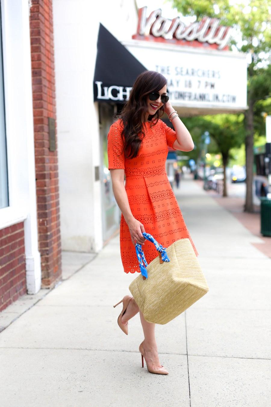 orange eyelet dress