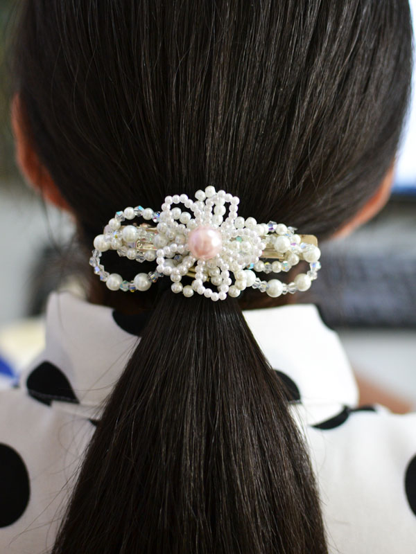 How To Make A Beaded Hair Clip With Flower And Bow Design