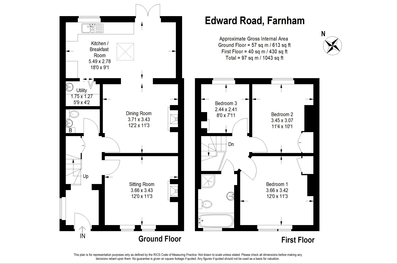 Edward Road Farnham Gu9 3 Bedroom Semi Detached House